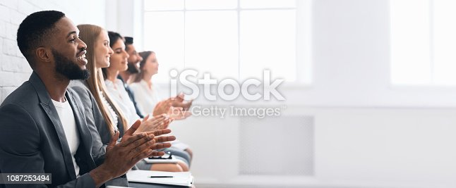 istock Business people clapping hands after business seminar 1087253494