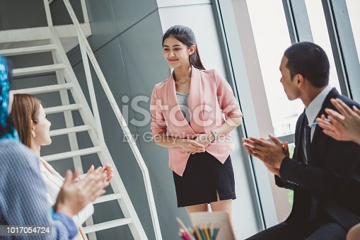istock Business people clapping hands during meeting in office for their success in business work 1017054724
