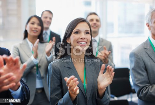 112156285 istock photo Business people clapping in seminar 112156285