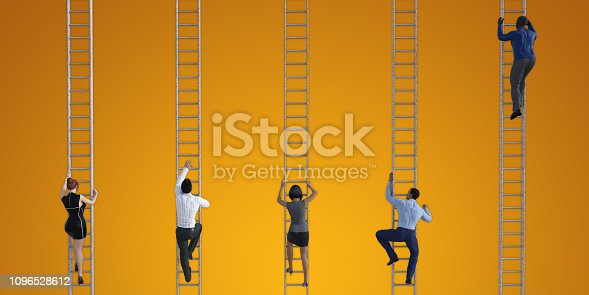 Business People Climbing Ladders to Reach the Top
