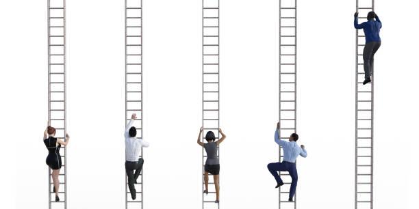 Business People Climbing Ladders stock photo