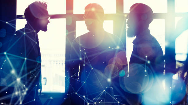 Business people collaborate together in office. Double exposure effects - foto stock