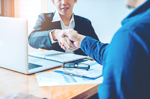 656005826 istock photo Business people colleagues shaking hands meeting Planning Strategy Analysis Concept 971227290