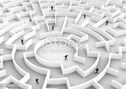 Business people competition - finding a solution of the maze., one winner. Concepts of rat race, success, challenge etc. 3D illustration