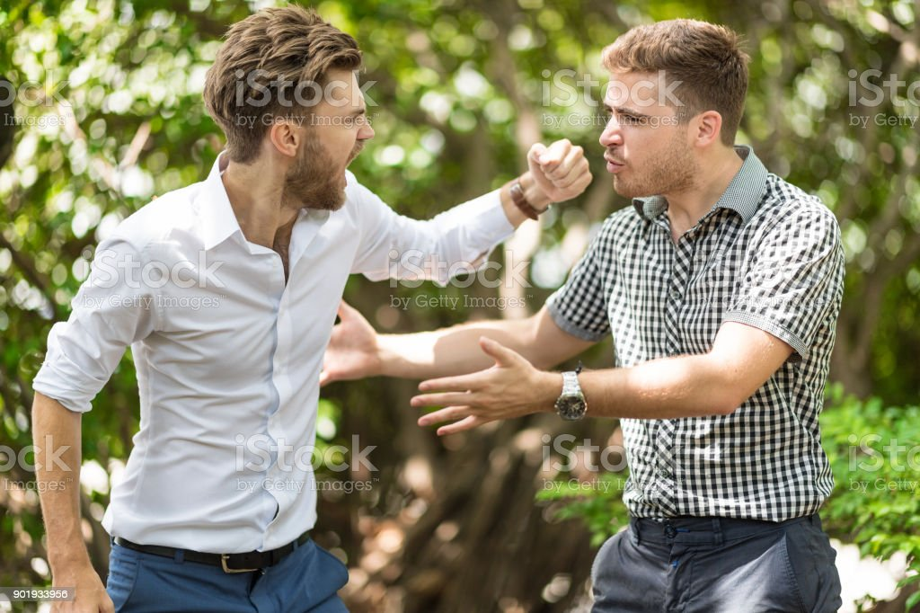 business people conflict problem stock photo