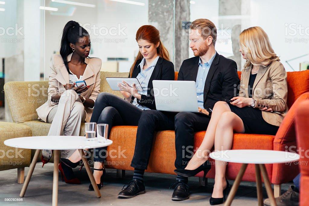 Business people conversation. Technology at hand royaltyfri bildbanksbilder
