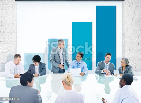 Business People Corporate Meeting Presentation Graph Growth Concept