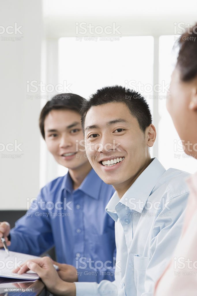Business people discussing at conference table royalty free stockfoto