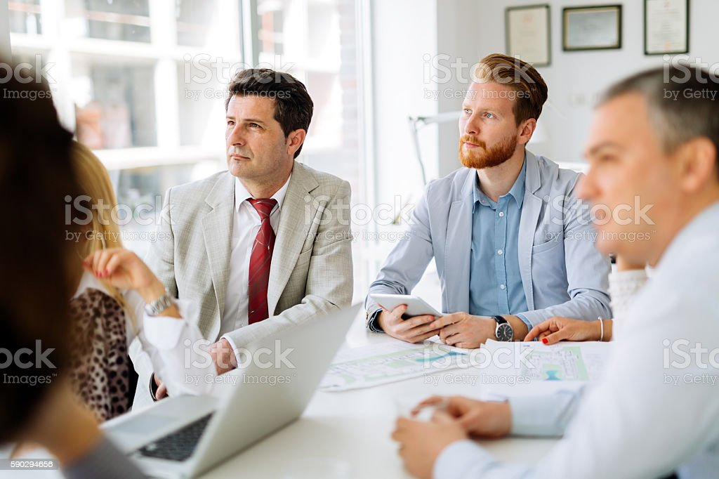 Business people discussing future plans royaltyfri bildbanksbilder