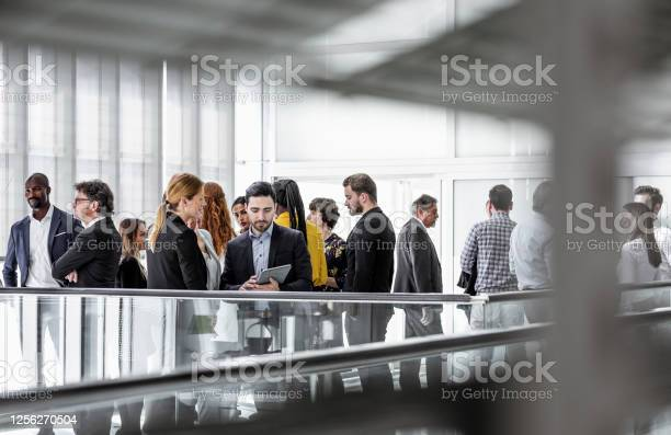 Business People Discussing In The Hallway Stock Photo - Download Image Now