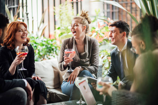 Business People Drinking After Work stock photo