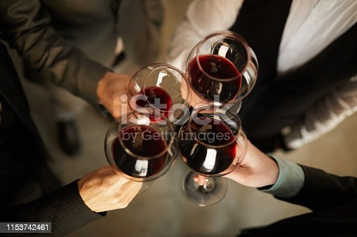 istock Business people Drinking Wine Above View 1153742461