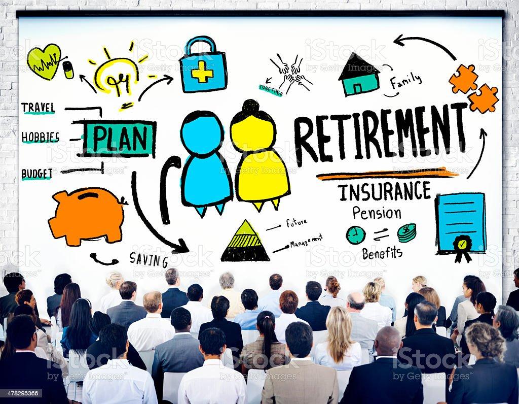 Business People Employee Retirement Presentation Seminar Concept stock photo