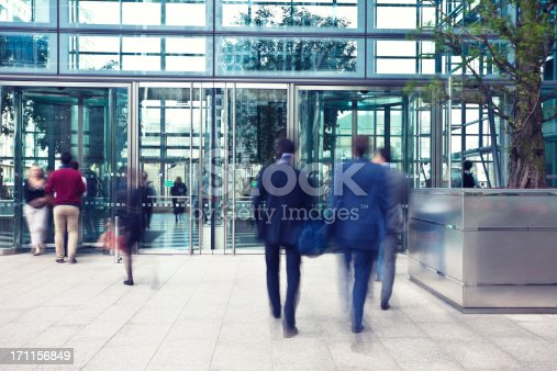istock Business People Entering and Leaving Office Building, Motion Blur 171156849