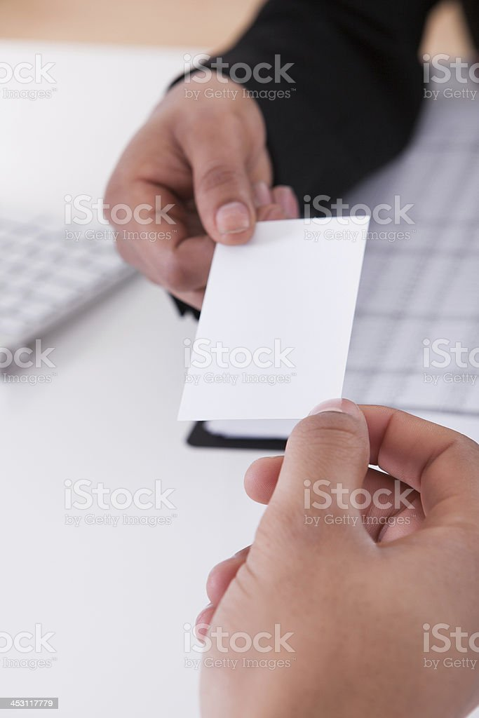 Business People Exchanging Visiting Card royalty-free stock photo