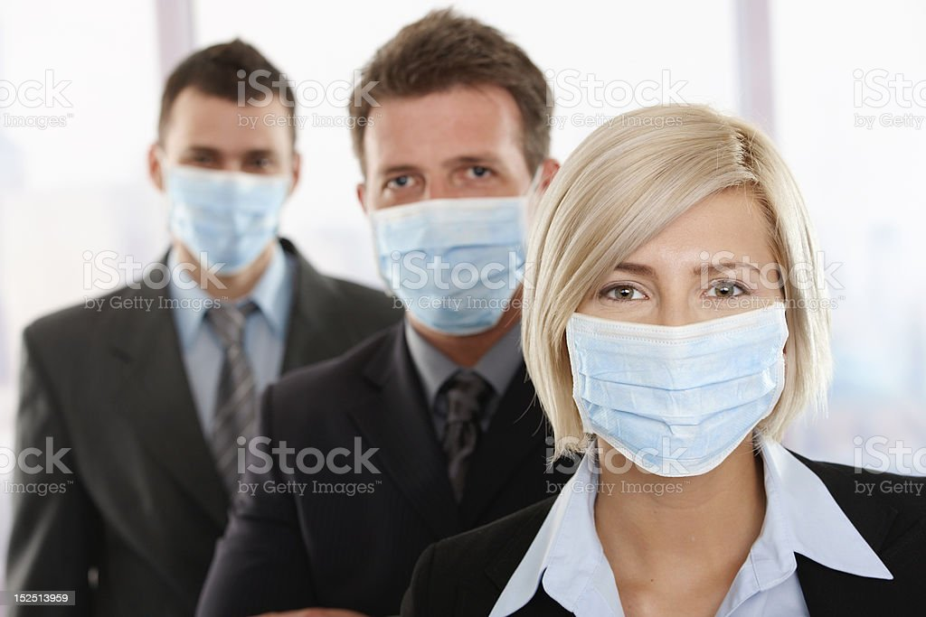Business people fearing h1n1 virus royalty-free stock photo