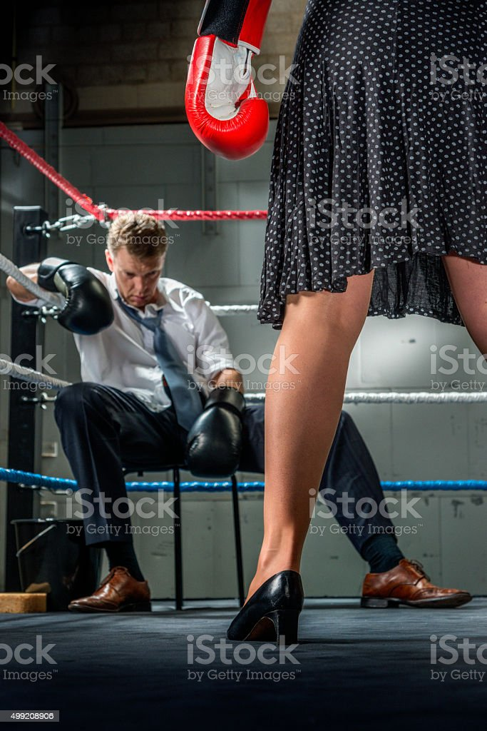 Business people fight, Conflict Between Couple stock photo