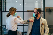 istock Business people greeting during COVID-19 pandemic 1212514362