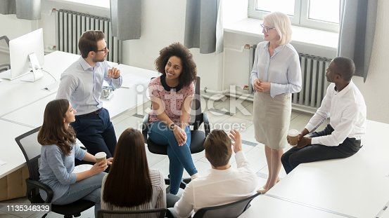 istock Business people group discussing work plan with coach at meeting 1135346339