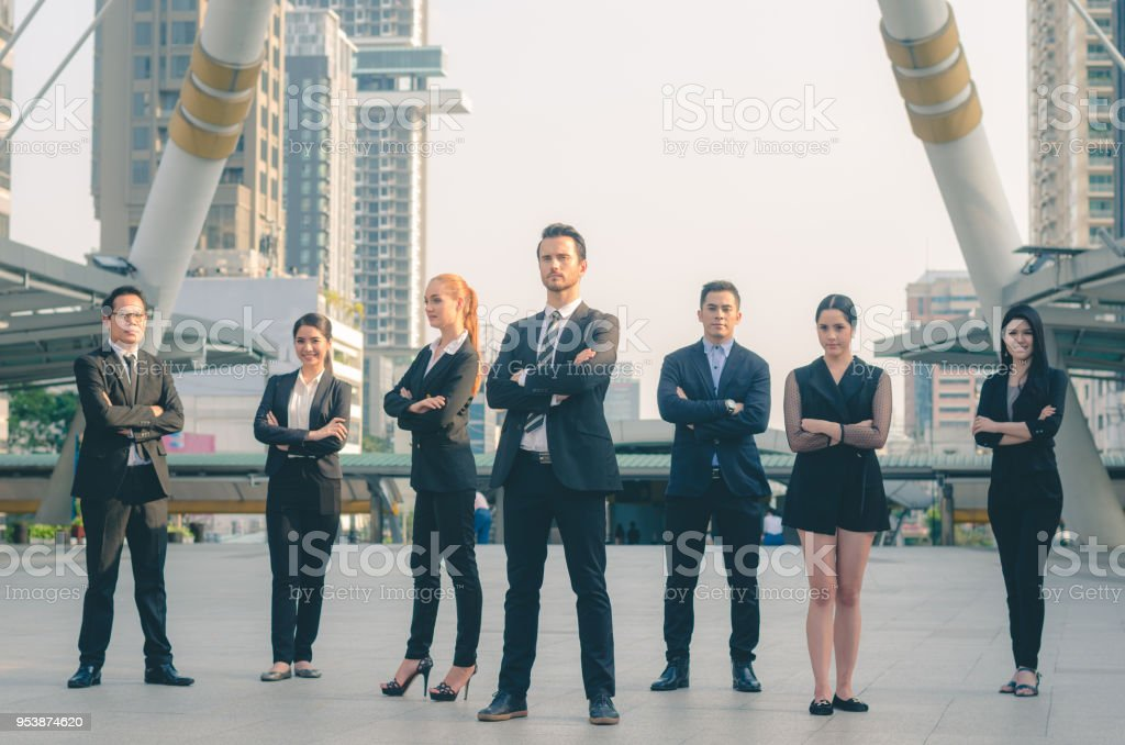 business people group of teamwork diverse team standing at outdoor in...