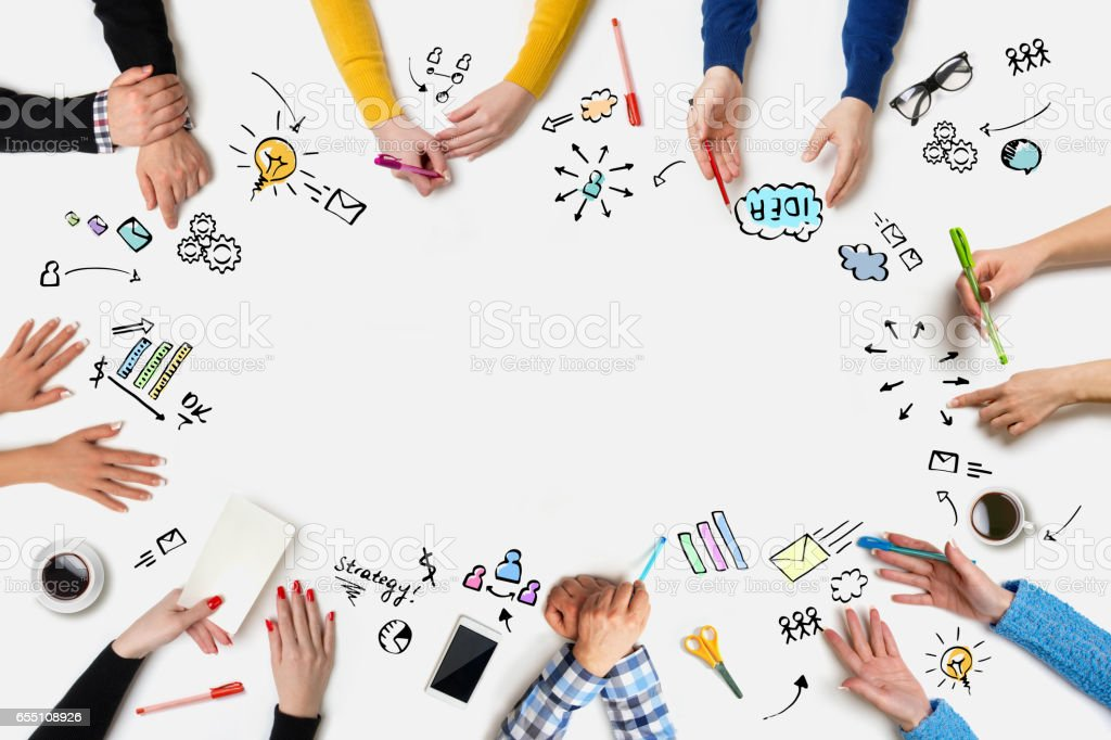 Business people group works at a table - Table royalty-free stock photo