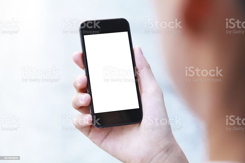 Business people hand holding blank screen smart phone stock photo