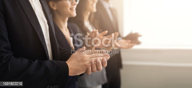 istock Business people hands applauding at meeting 1031822210