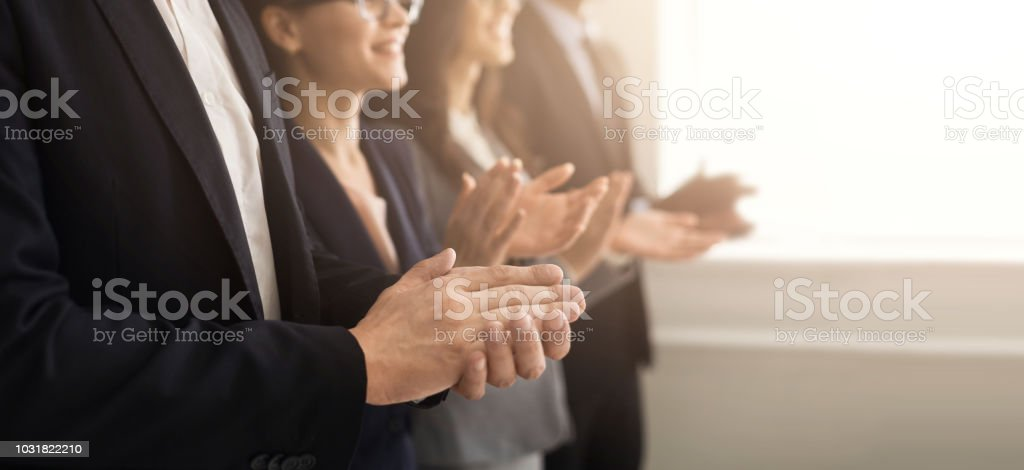 Business people hands applauding at meeting stock photo
