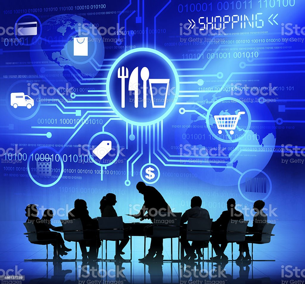 Business People Having a Meeting and Shopping Concept stock photo