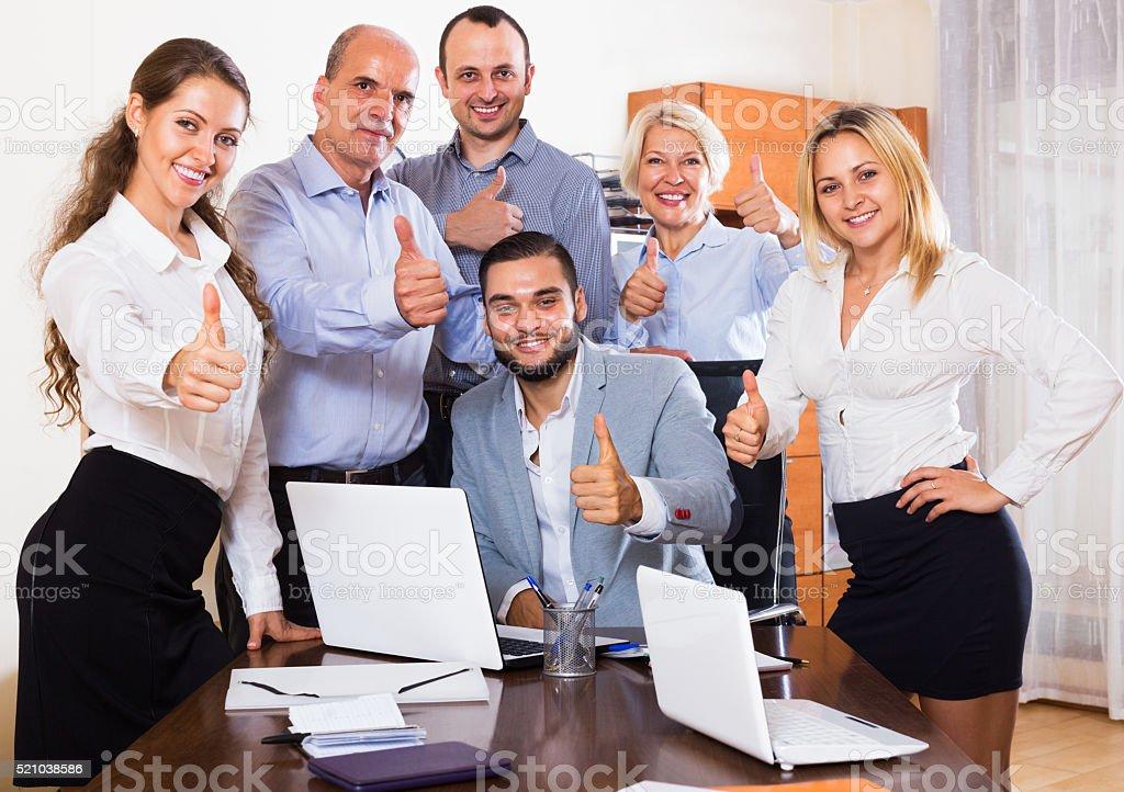 Business people having break stock photo