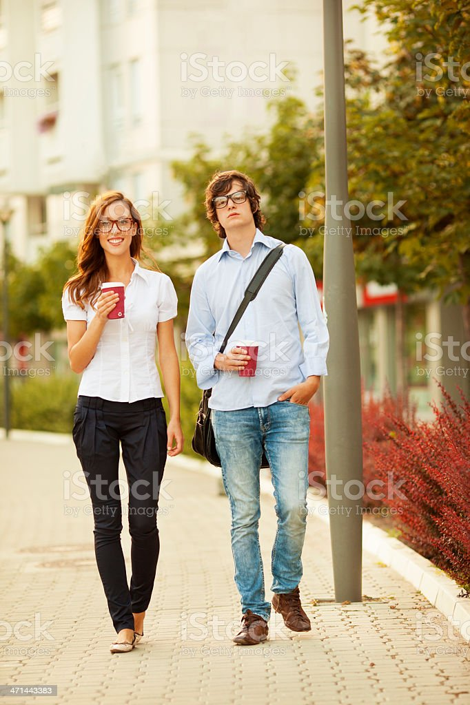 Business People Having Coffee Break Outdoors. royalty-free stock photo