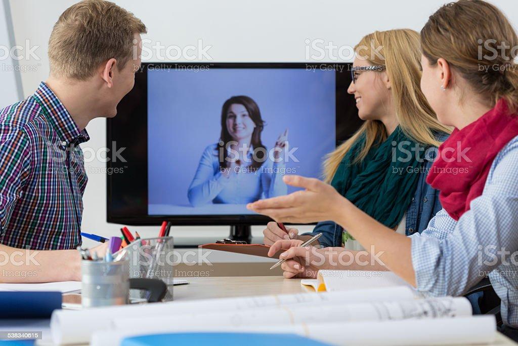 Business people having online meeting stock photo