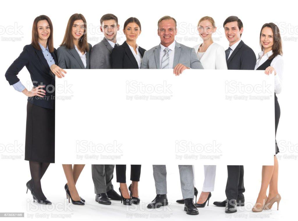 バナーを保持しているビジネス人々 - カットアウトのロイヤリティフリーストックフォト