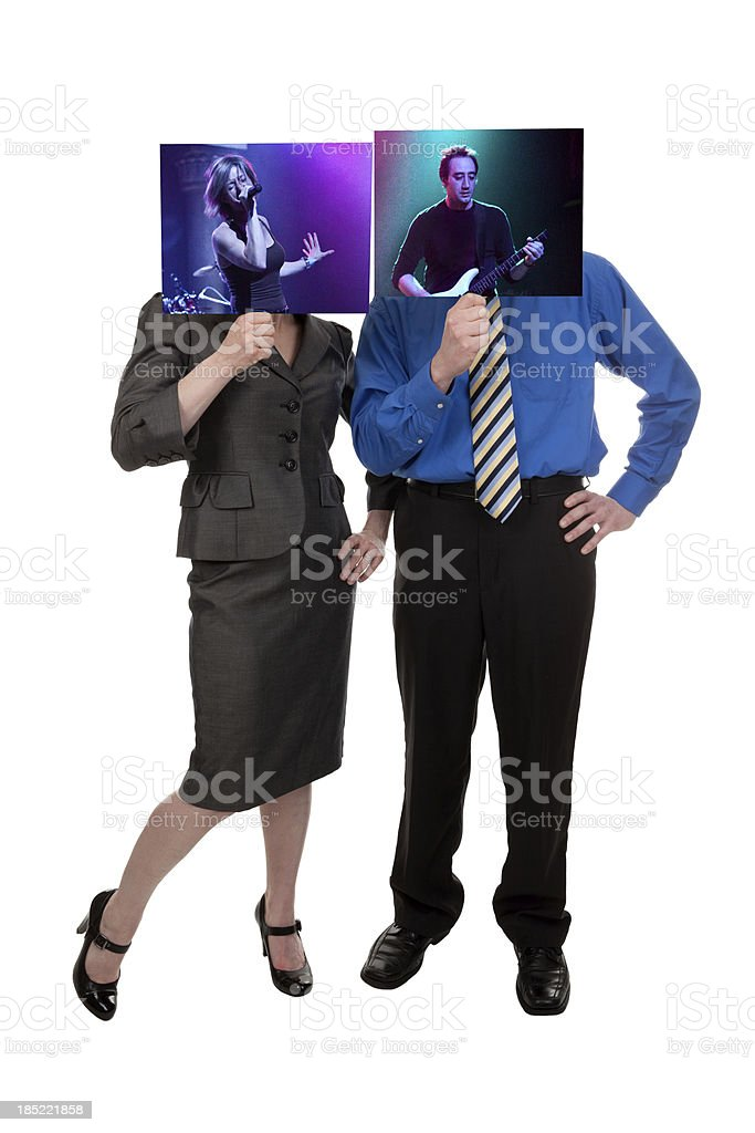 Business People Holding Photo of Themselves Performing Music royalty-free stock photo
