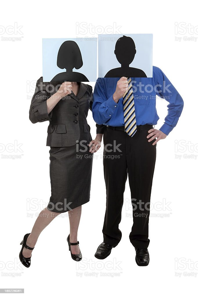 Business People Holding Social Network Profile Pictures stock photo