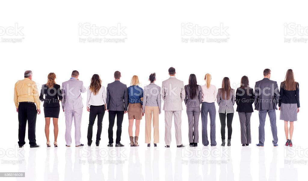 Business people in a line. stock photo
