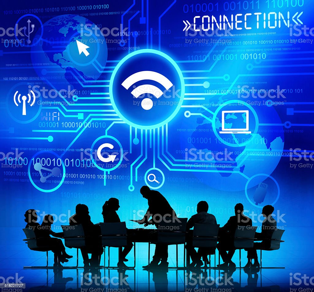 Business People in a Meeting with Connection Concept stock photo