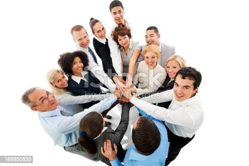 688200936istockphoto Business People in Circle with Hands at Center. 169950535