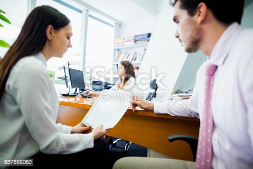 istock Business people in office meeting together 637866082