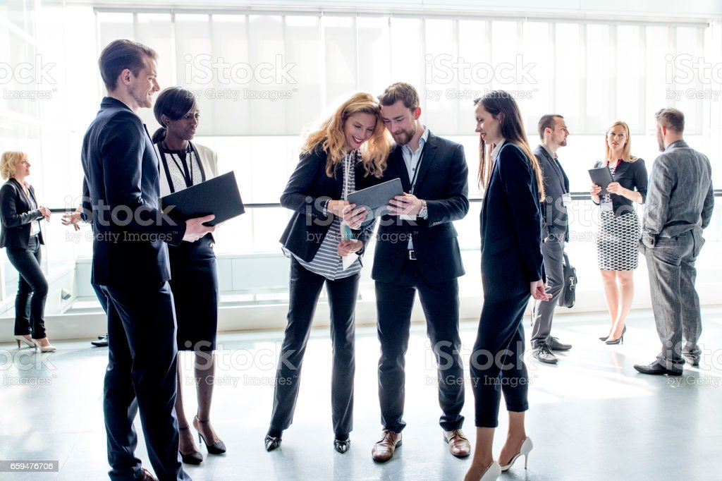 Business people in the hall stock photo