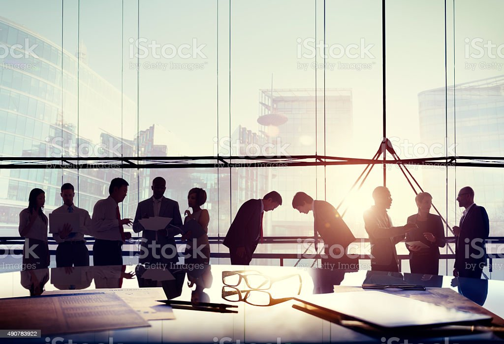 Business People Japanese Culture Bowing Respect Greeting Concept stock photo