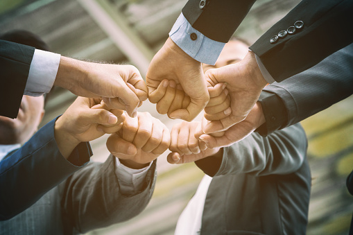 Business People Joining Hands Showing Teamwork Stock Photo ...