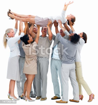 854381886 istock photo Business people lifting a woman 147263180