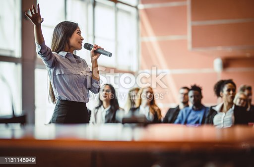 938409136 istock photo Business People Listening to the Public Speaker 1131145949