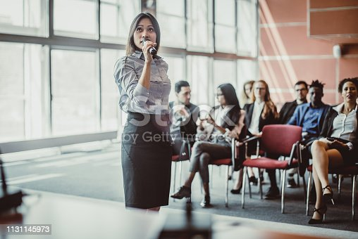 938409136 istock photo Business People Listening to the Public Speaker 1131145973