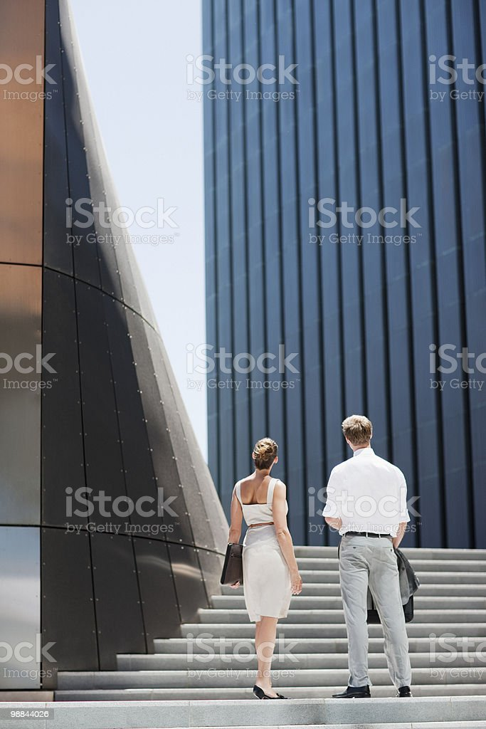 Business people looking at building royalty-free stock photo