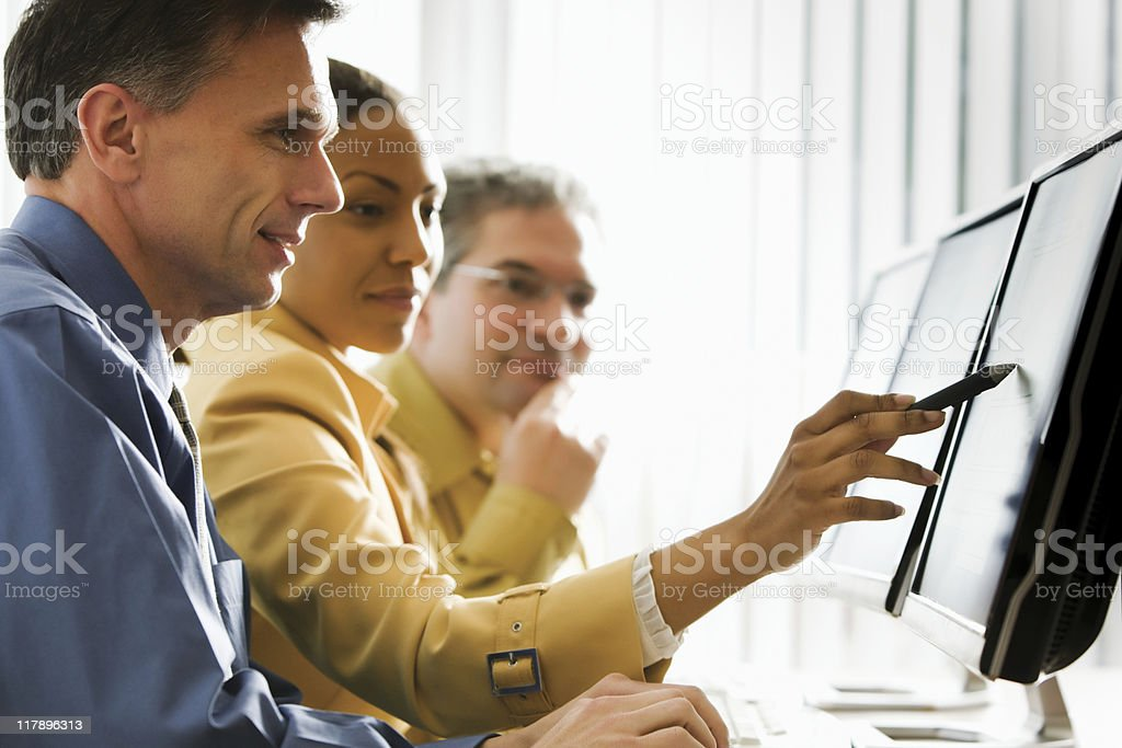 Business People Looking at Computer Monitor royalty-free stock photo