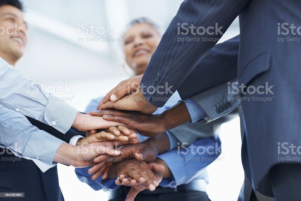 Business people making a sea of hands royalty-free stock photo
