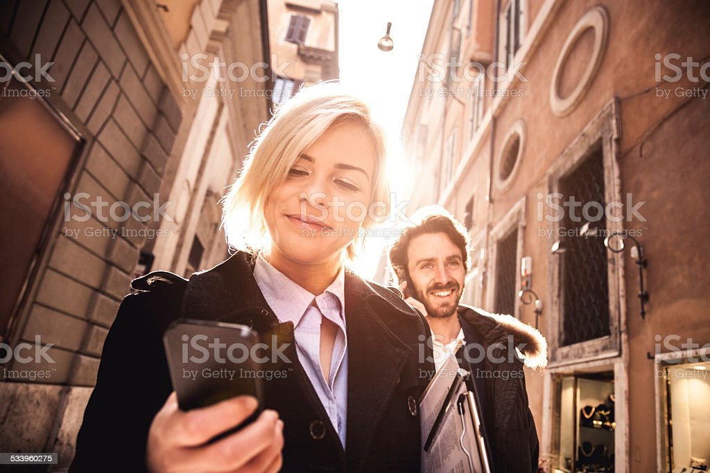 Business people meet in downtown stock photo