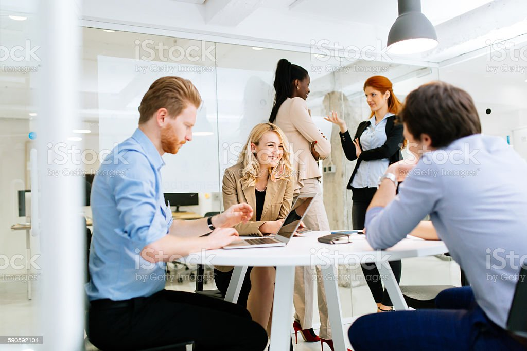 Business People Meeting At Round Table Royalty Free Stock Photo
